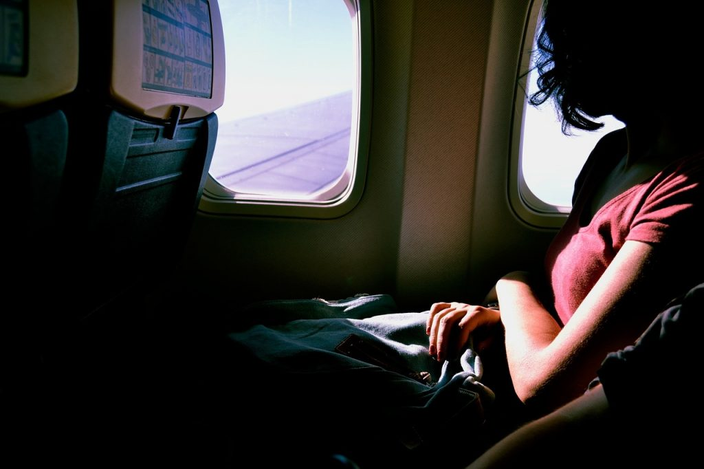 Sitzen im Flugzeug