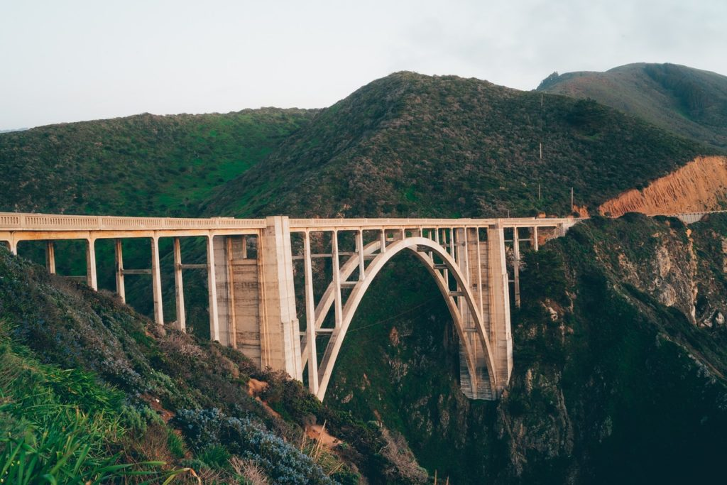 West Coast tour - The ultimate icon and probably most photographed feature along the Big Sur coastline: Bixby Bridge. It is one of the highest bridges of its kind in the world, standing 260 feet (79 meters) above the bottom of a steep canyon.