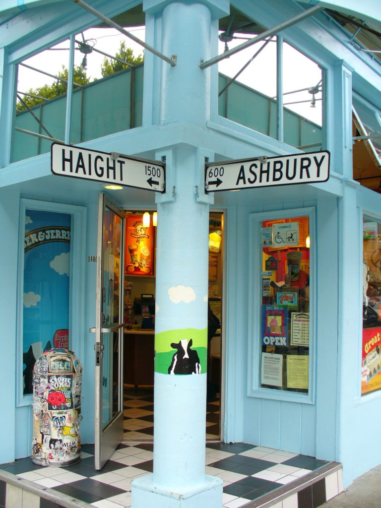 Haight-Ashbury is a district of San Francisco named after the intersection of Haight Street and Ashbury Street.