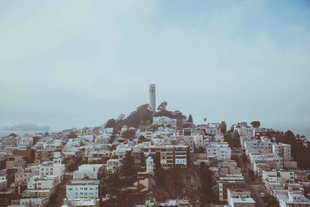 The Coit Tower is a 64 meter high observation tower on Telegraph Hill in San Francisco. It was built in 1933 by Arthur Brown Jr. and Henry Howard.