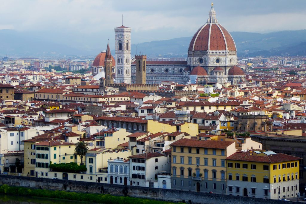 The Cattedrale di Santa Maria del Fiore is considered to be the fourth largest church in Europe and towers with its size over all roofs of Florence.