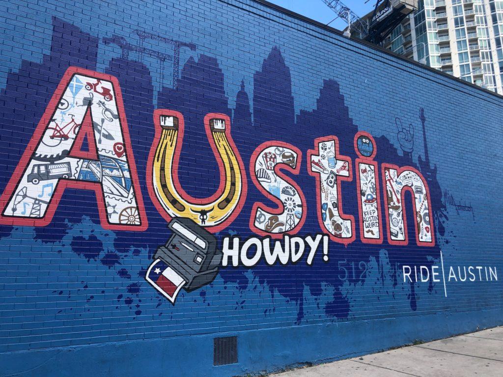 In Austin colorful street art is plentiful
