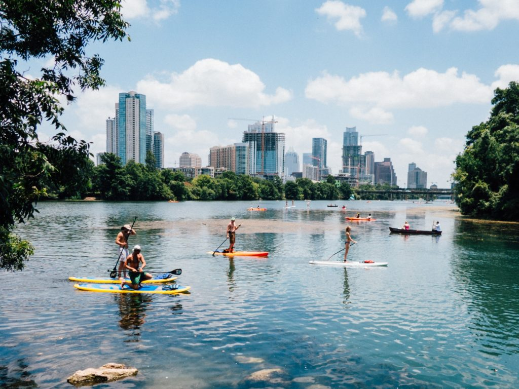 Austin's Town Lake, now known as Lady Bird Lake, offers hiking and biking trails, nearby restaurants, several parks, bat watching, kayaking, and much more.
